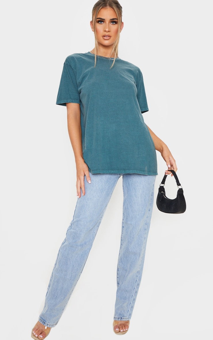 Teal Washed Oversized T Shirt 4