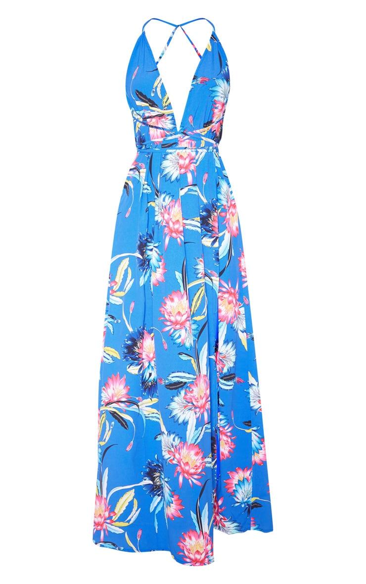 Cobalt Floral Print Chiffon Halterneck Maxi Dress 3