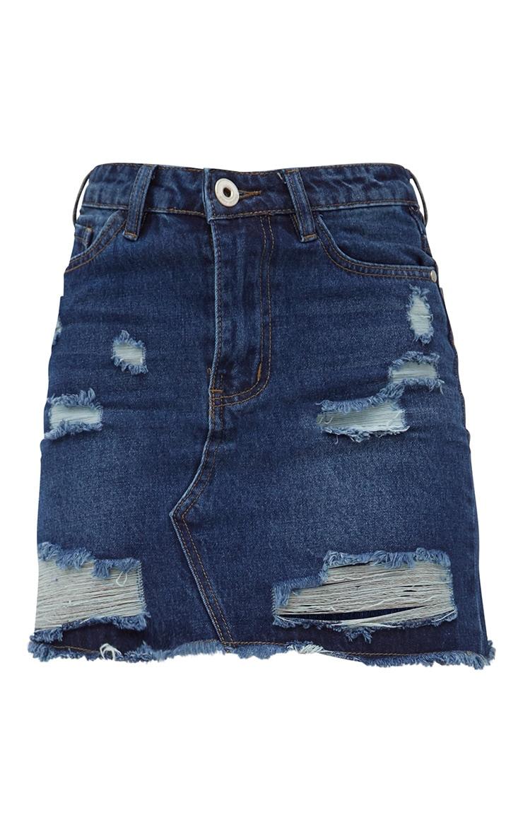 Dark Wash Distressed Rip Denim Mini Skirt 3