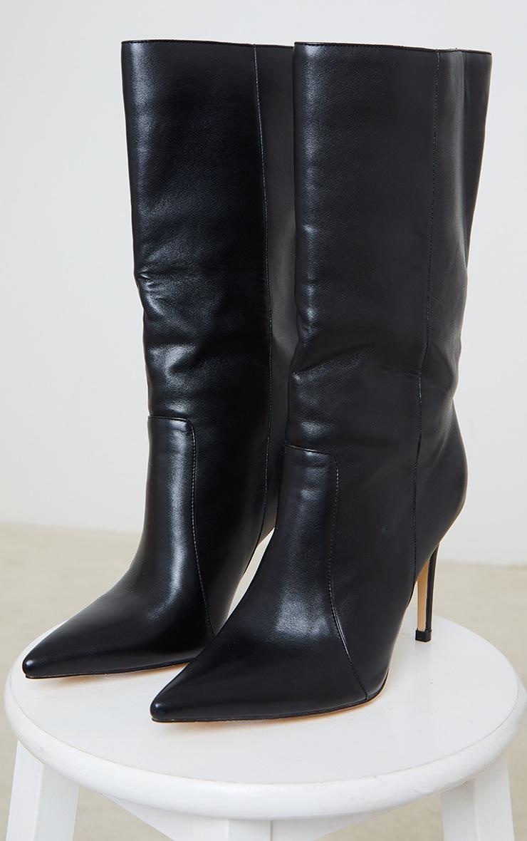 Black Calf High Point Heel Boot 3