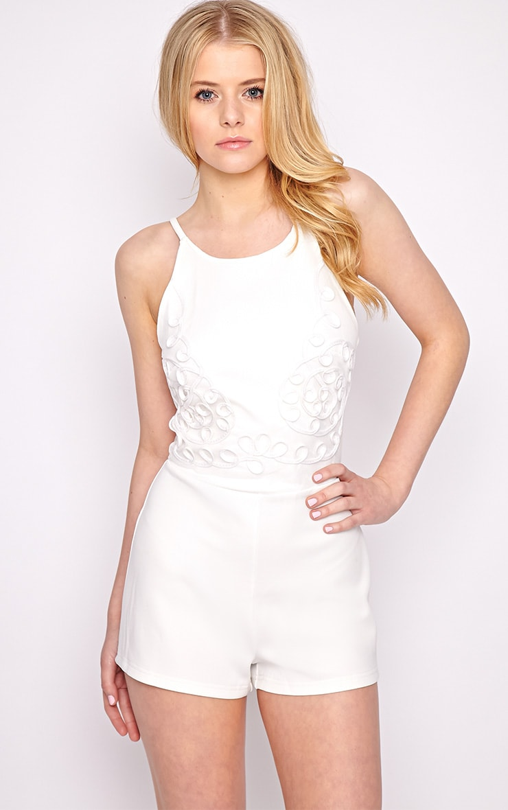 Lena White Embroidered Playsuit 3