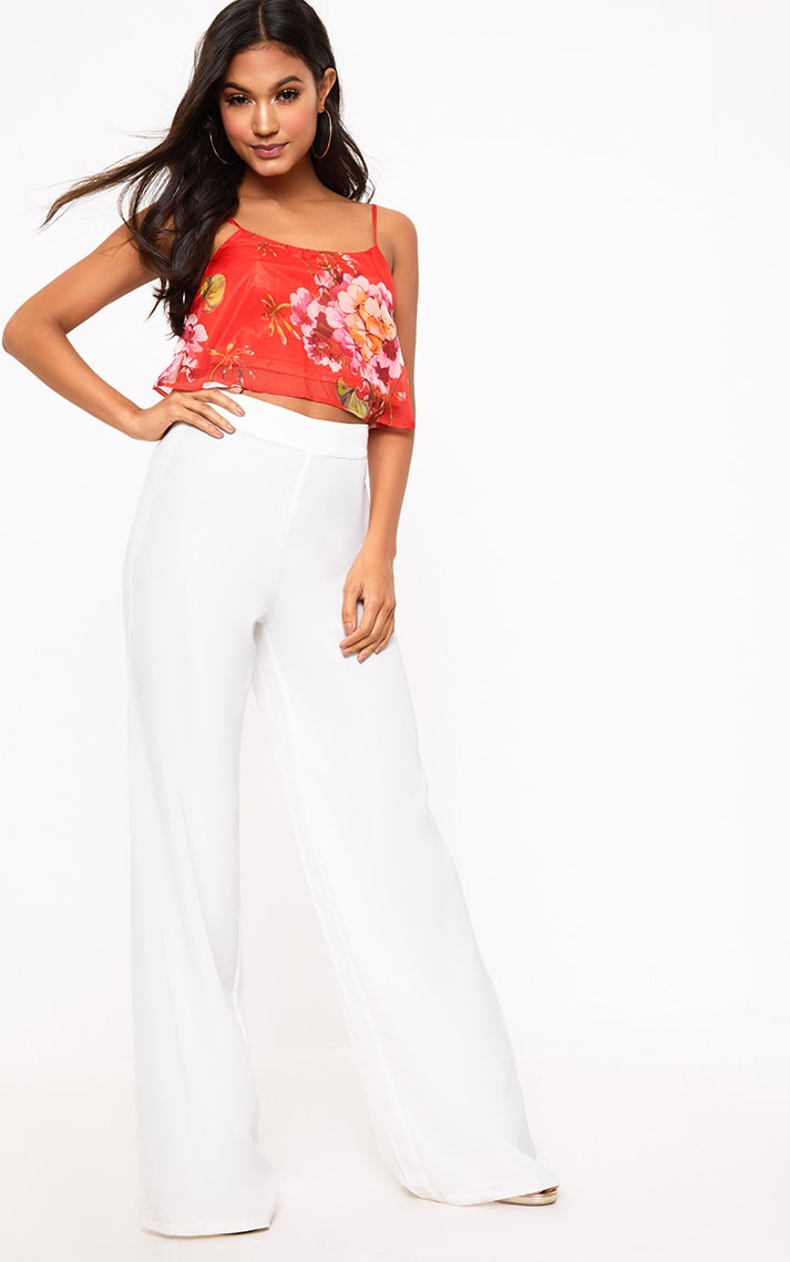 Red Floral Print Soft Cami Crop Top 4