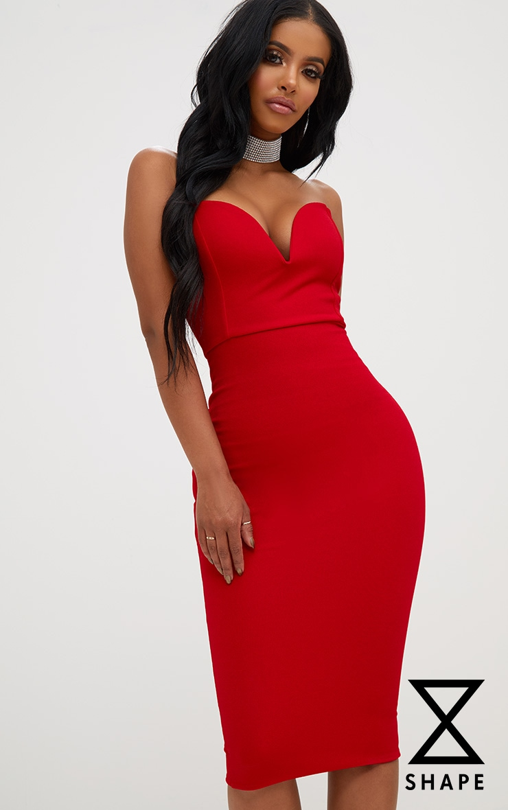 Shape Red Plunge Midi Dress 1