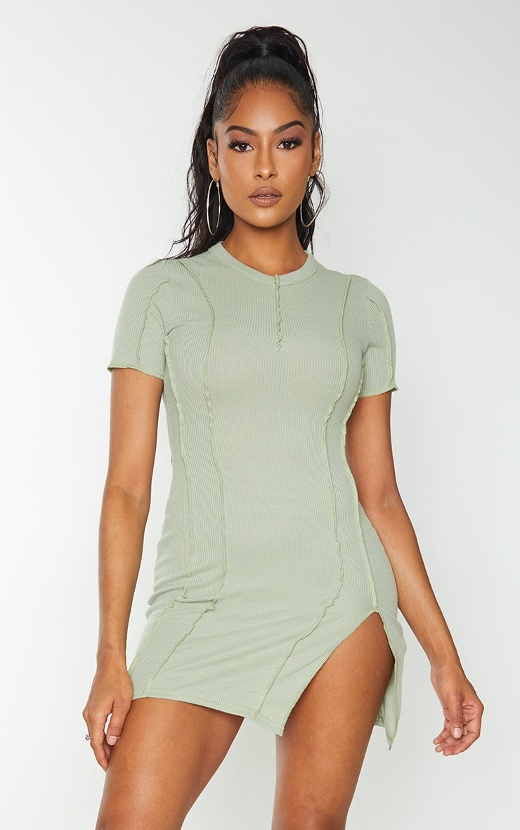 Sage Green Ribbed Overlock Seam Split Hem Short Sleeve Bodycon Dress