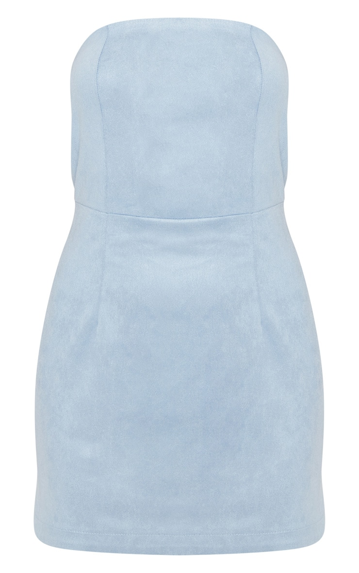Dusty Blue Faux Suede Bandeau Bodycon Dress 3