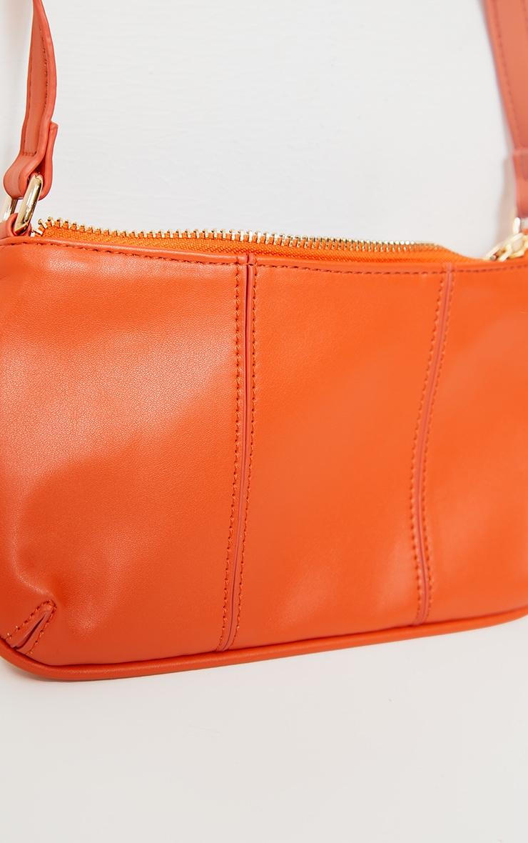 Orange Stitch Detail Shoulder Bag 3