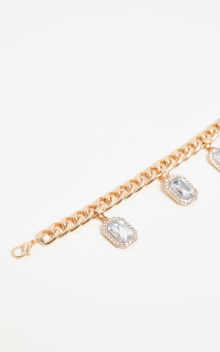 Gold Crystal Drop Chain Anklet 3