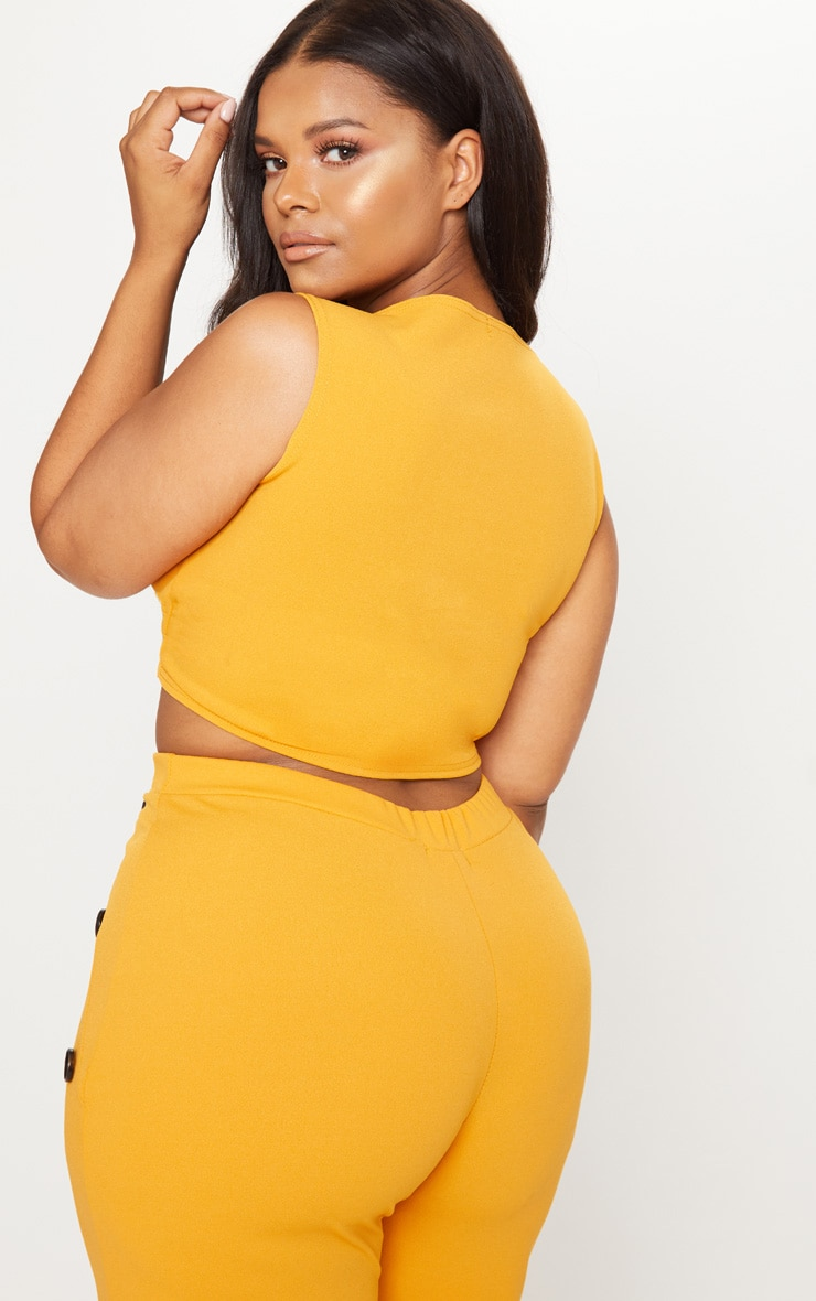 Plus Mustard Tortoise Button Detail Crop Top 2