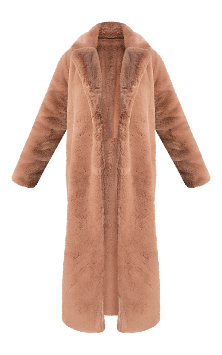 Camel Premium Faux Fur Plush Military Maxi Coat 5