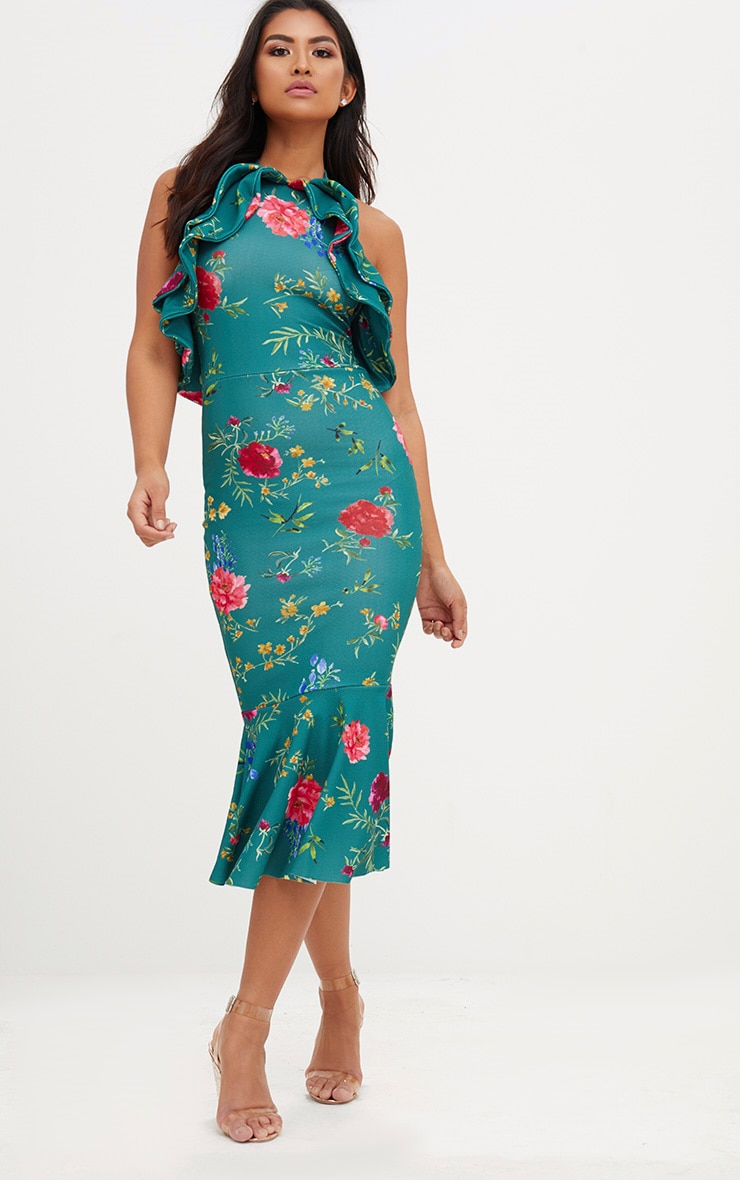 Emerald Green Floral Halterneck Frill Detail Fishtail Midi Dress 1