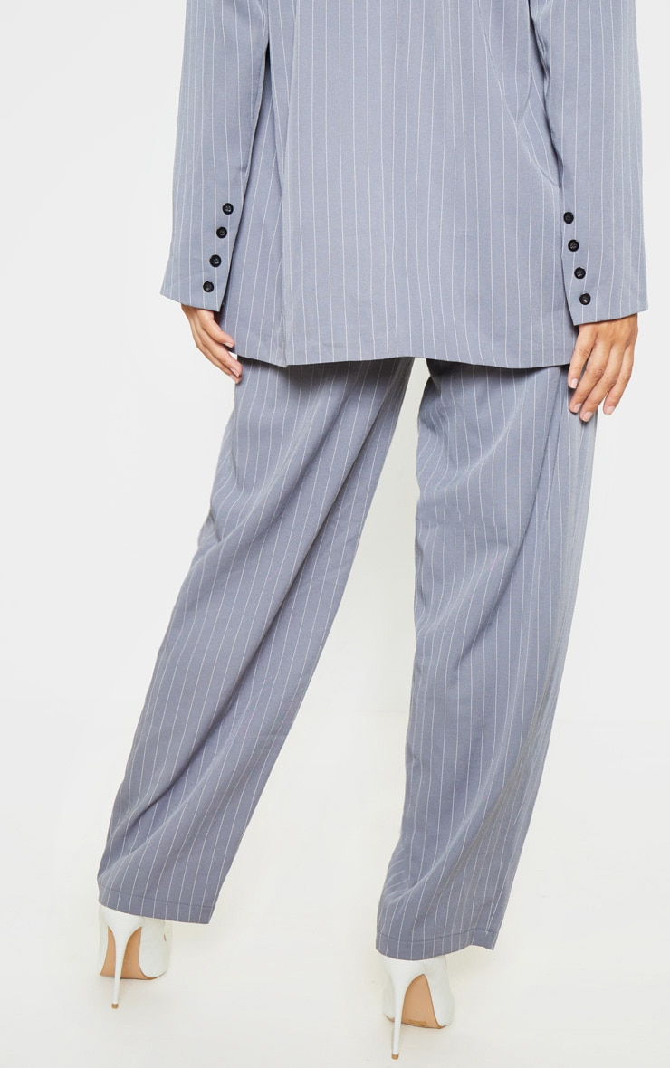 Charcoal Grey Pinstripe Woven High Waisted Cigarette Trouser 4