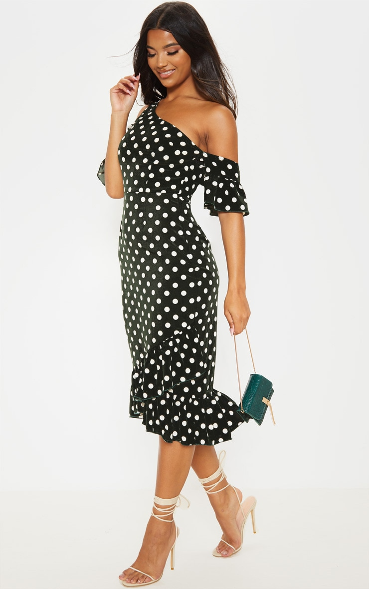 Forest Green Polka Dot One Shoulder Frill Sleeve Midi Dress 4