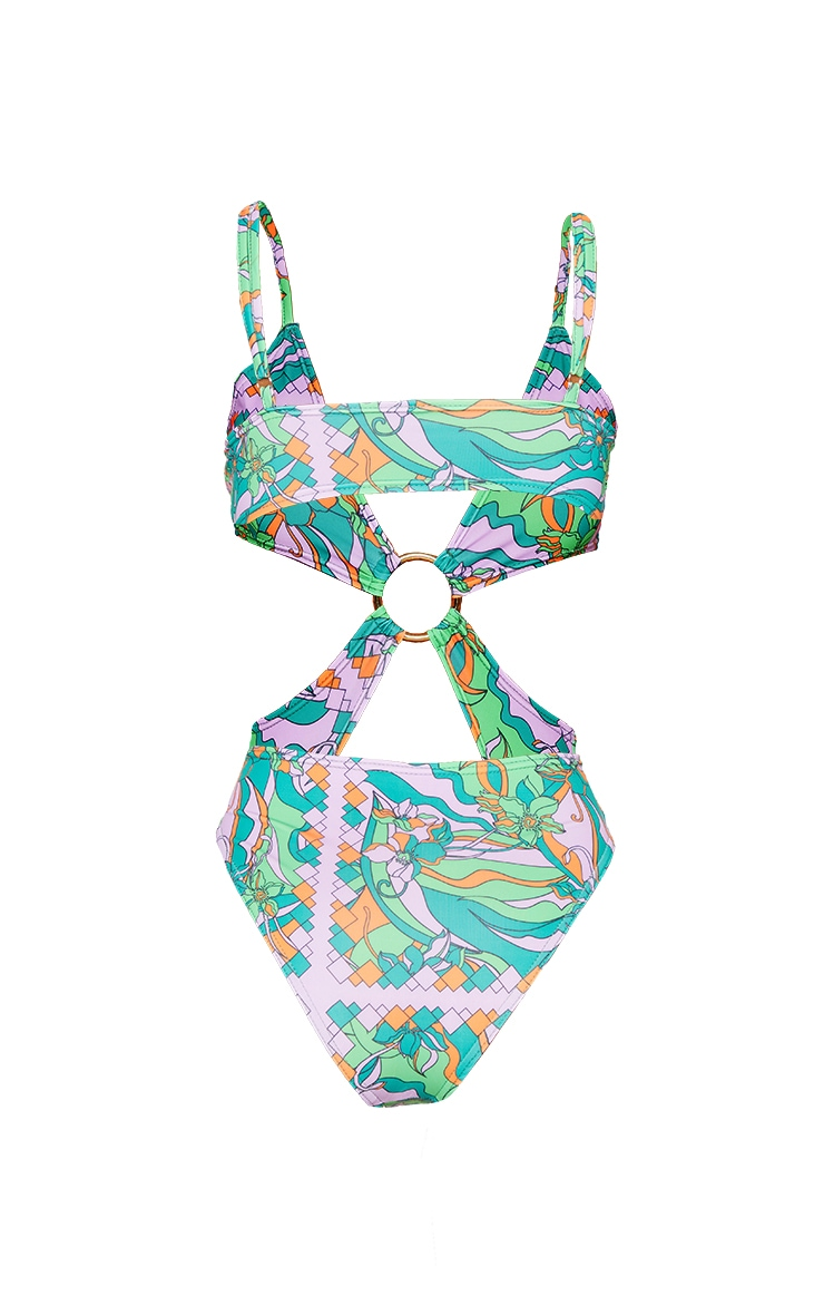 Green Abstract Flower Print Cut Out Ring Swimsuit 5
