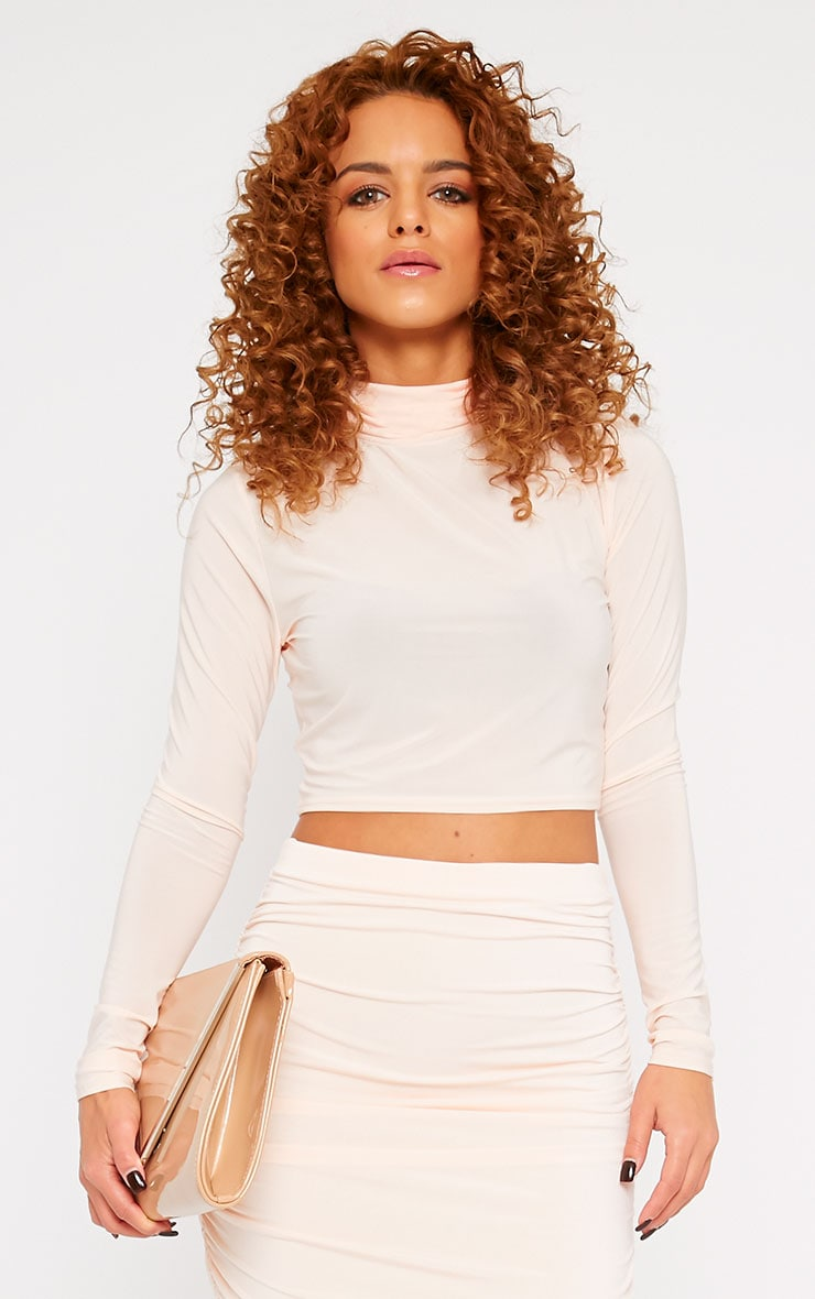 Saylor Nude Slinky Turtle Neck Crop Top 1