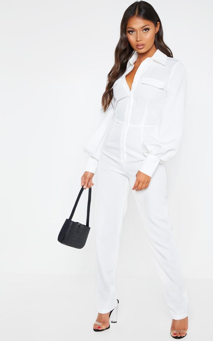Petite - Combinaison blanche à manches longues et détail poches 1