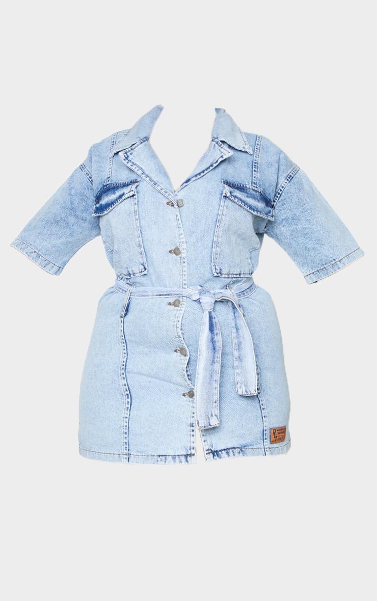 PLT Plus - Robe en jean bleu clair délavé à boutons et taille nouée 5