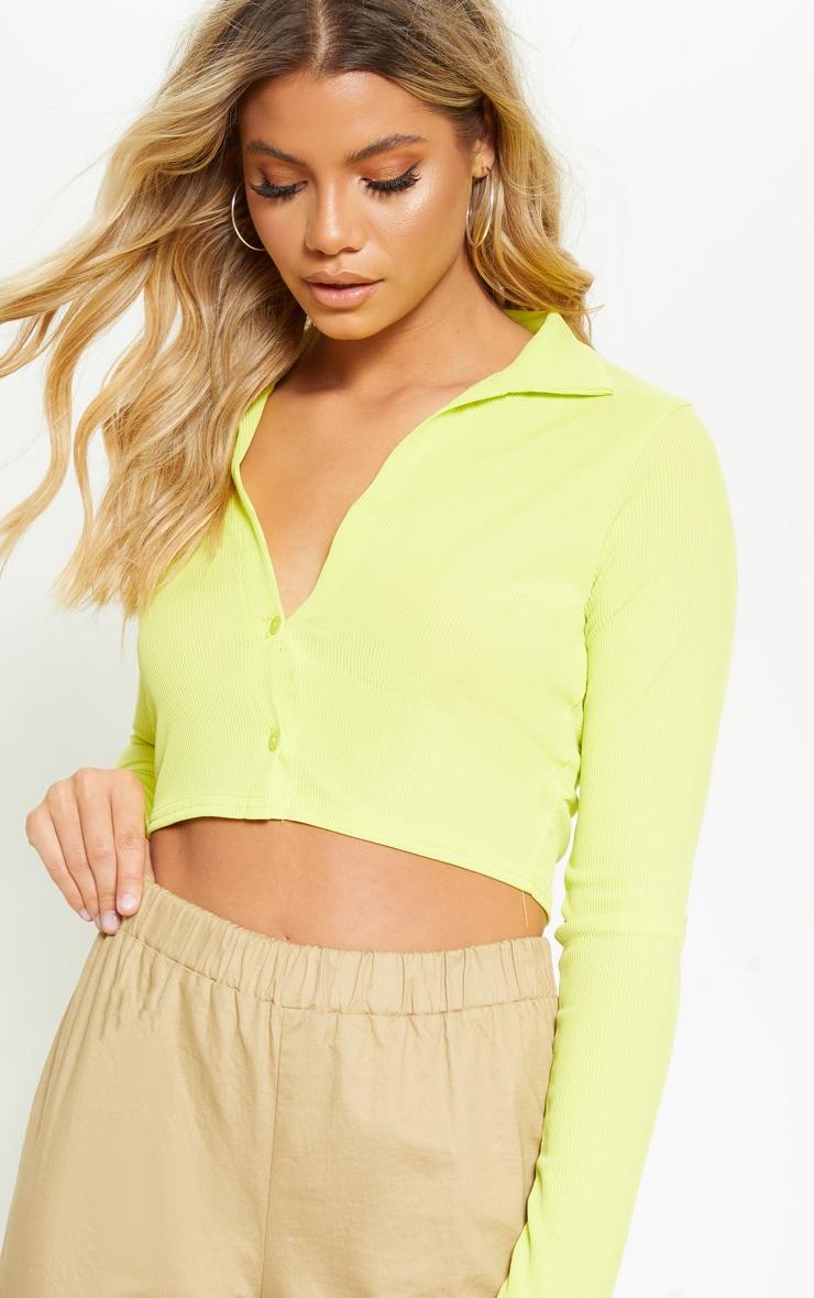 Light Lime Rib Plunge Crop Shirt 5