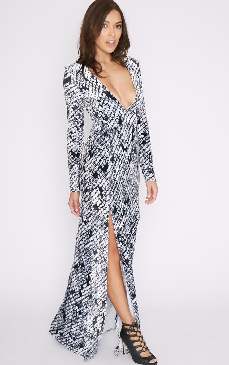Willow Velvet Snake Print Double Split Maxi Dress 3