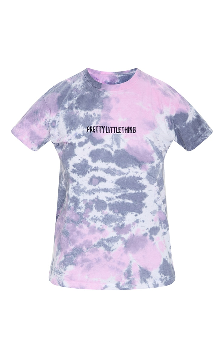 PRETTYLITTLETHING Plus Purple Tie Dye Embroidered Oversized T Shirt 5