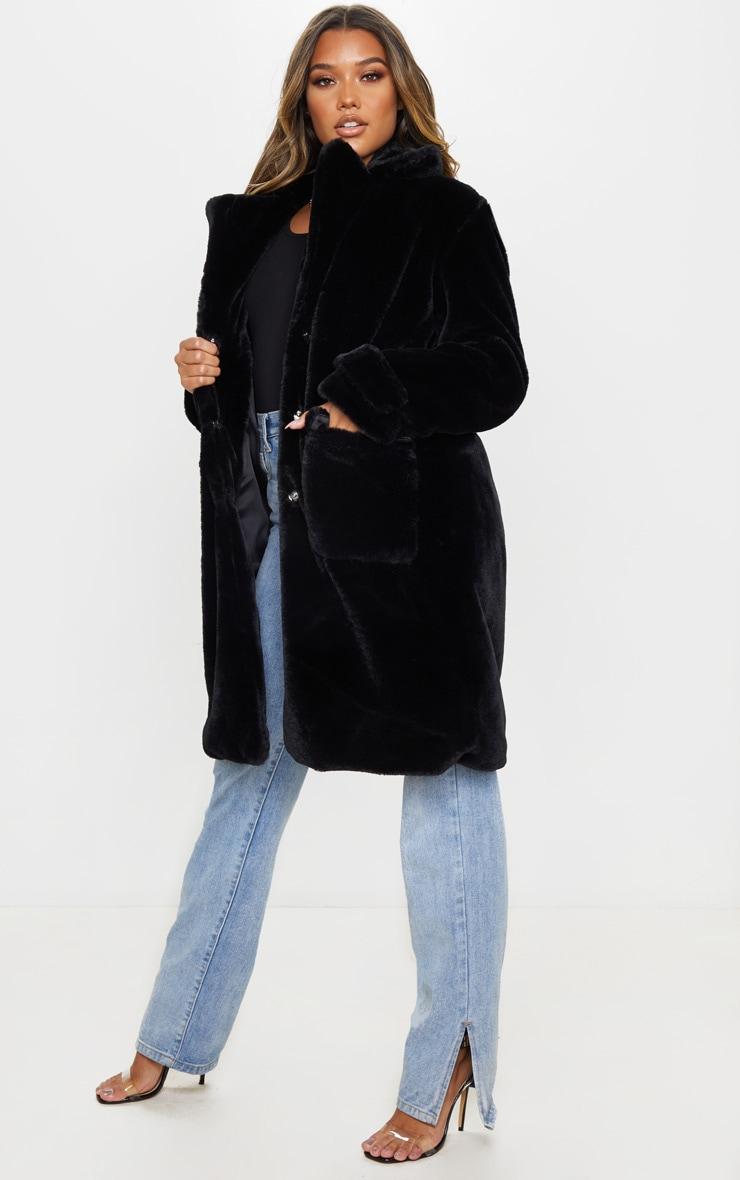 Manteau style militaire noir en fausse fourrure 3