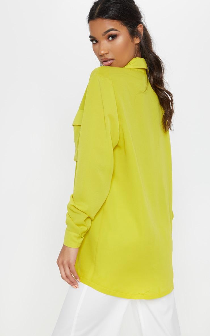 Lime Oversized Chiffon Shirt 2