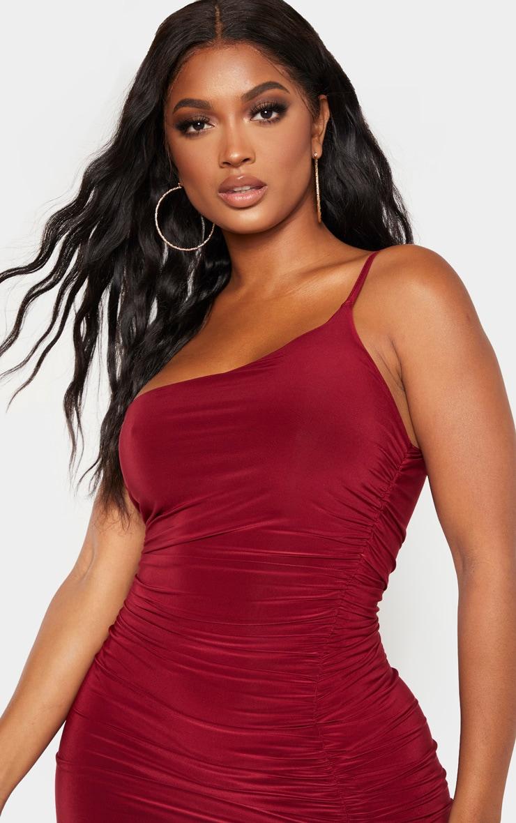 Shape Burgundy Slinky Ruched Asymmetric Bodycon Dress 5