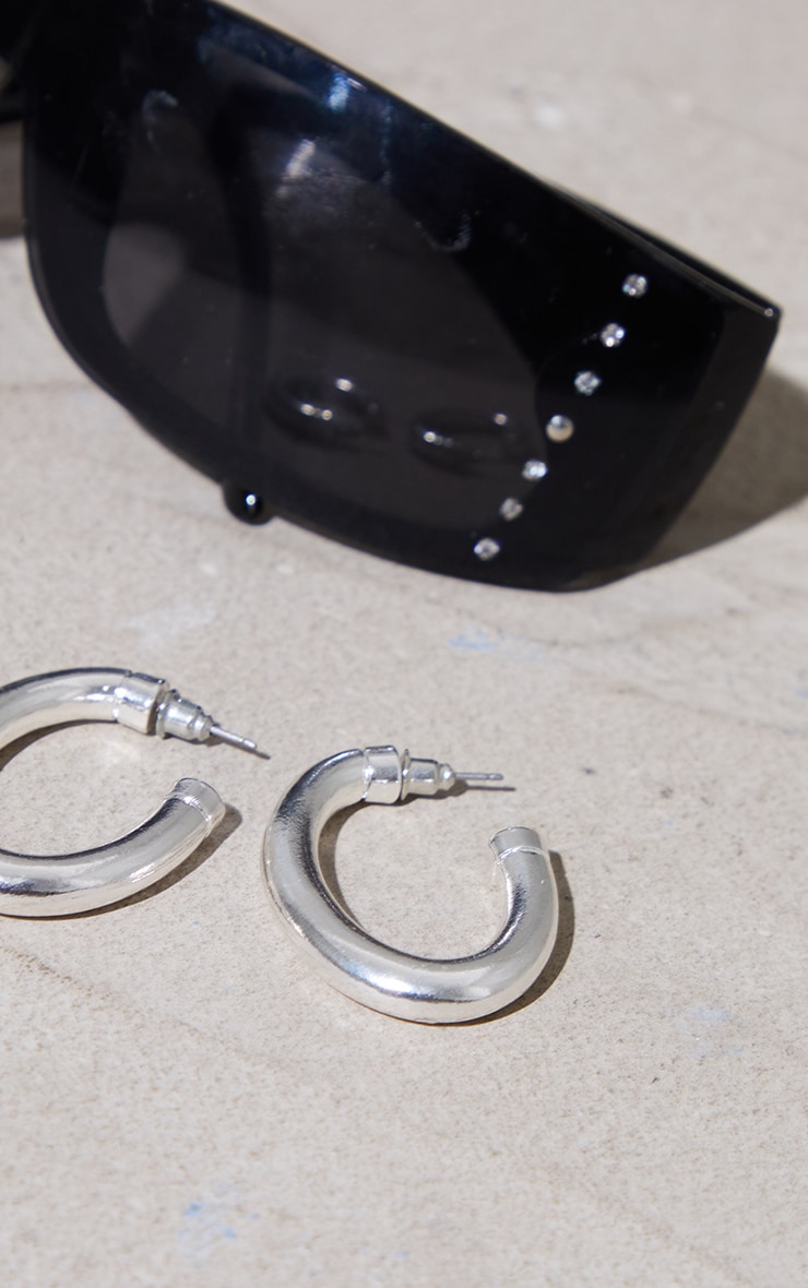 Silver Chunky Oval Hoop Earrings 3