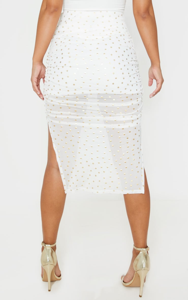 Petite Cream Polka Dot Ruched Side Midi Skirt 4
