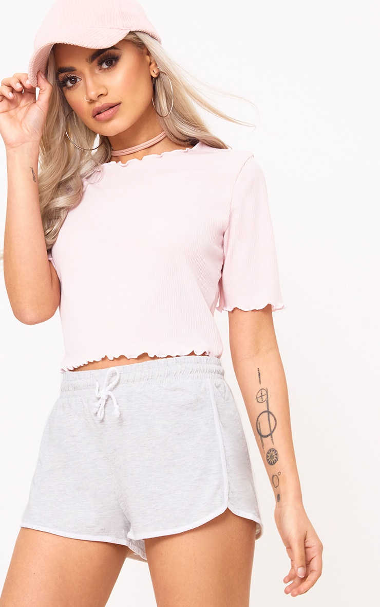 Baby Pink Frill Contrast Edge Crop Top 1
