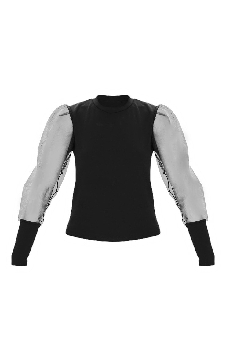 Black Fitted Mesh Sleeve Top 3