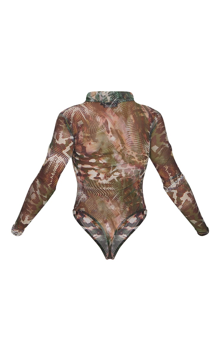 Green Abstract Printed Mesh Cut Out Long Sleeve Bodysuit 6