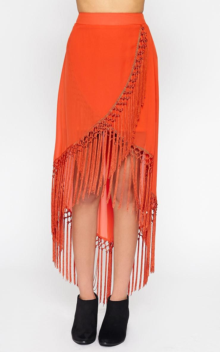 Sonja Orange Wrap Tassel Midi Skirt 2