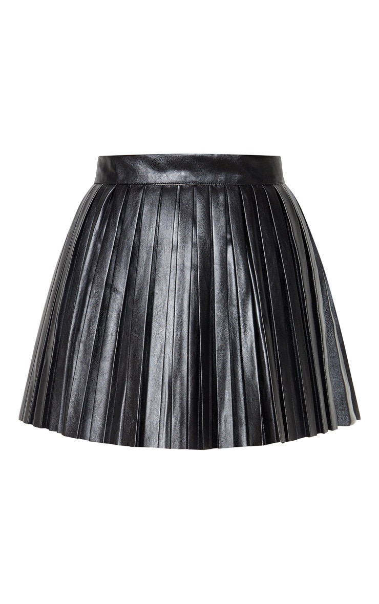 Black Faux Leather Pleated Skater Skirt 3