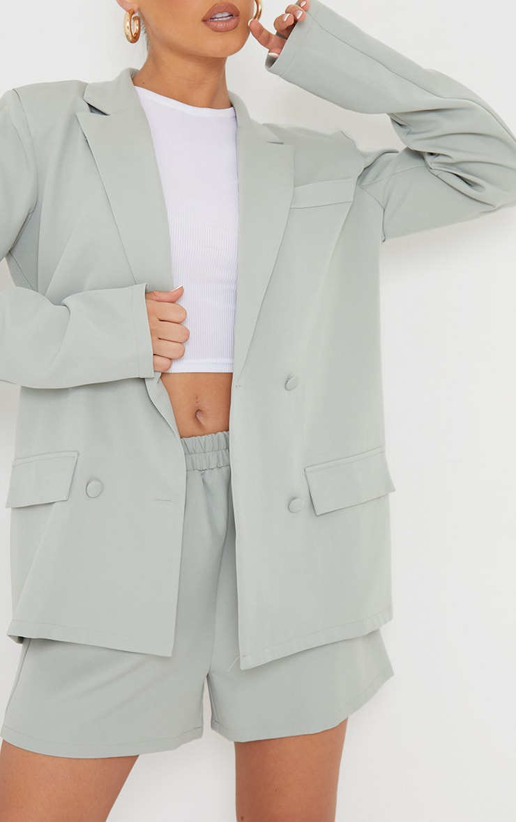 Sage Blue Longline Double Breast Pocket Detail Blazer 4