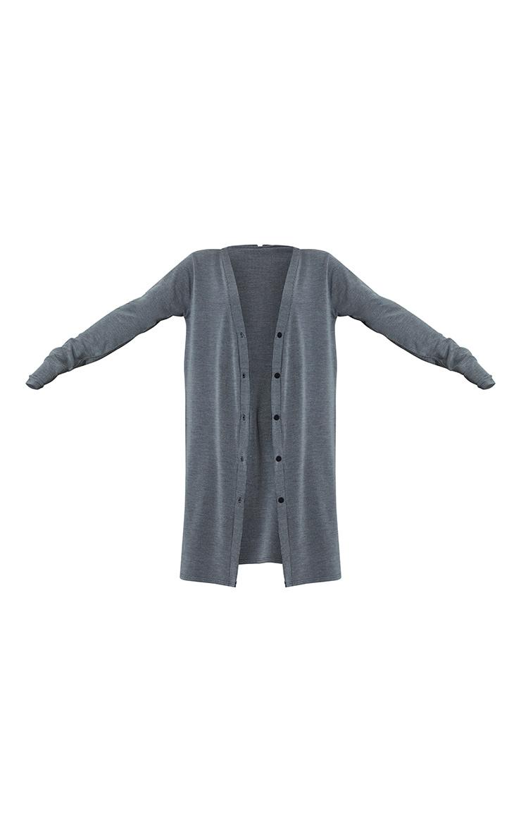 Charcoal Grey Rib Button Front Midi Cardigan 5