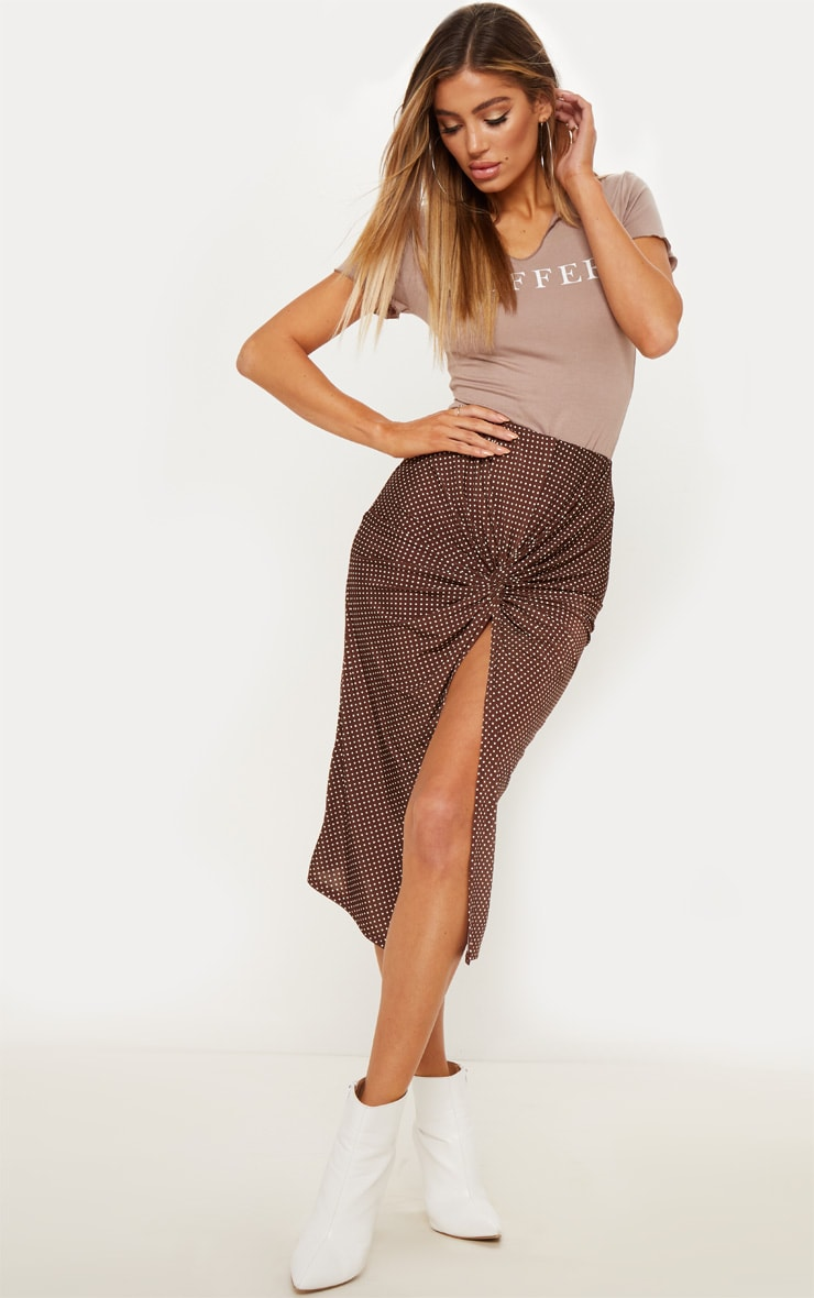 Chocolate Polka Dot Twist Front Midi Skirt