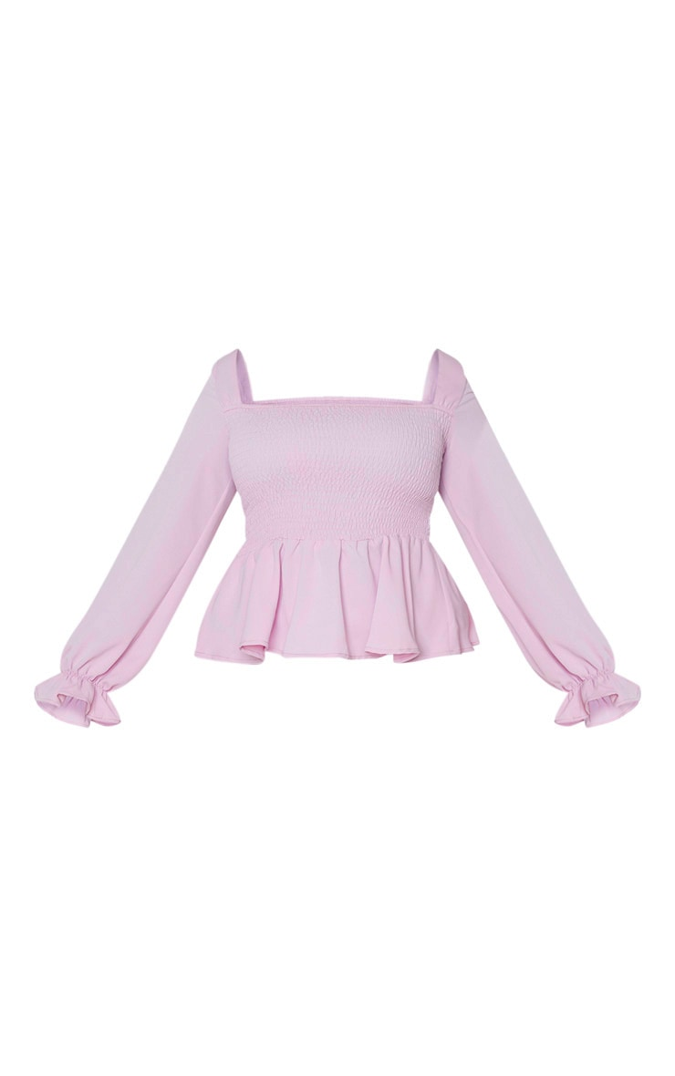 Plus Lilac Shirred Frill Detail Top 3