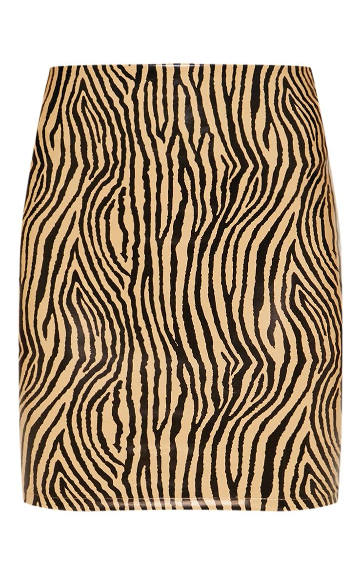 Mini-jupe en similicuir sable imprimé zèbre 3
