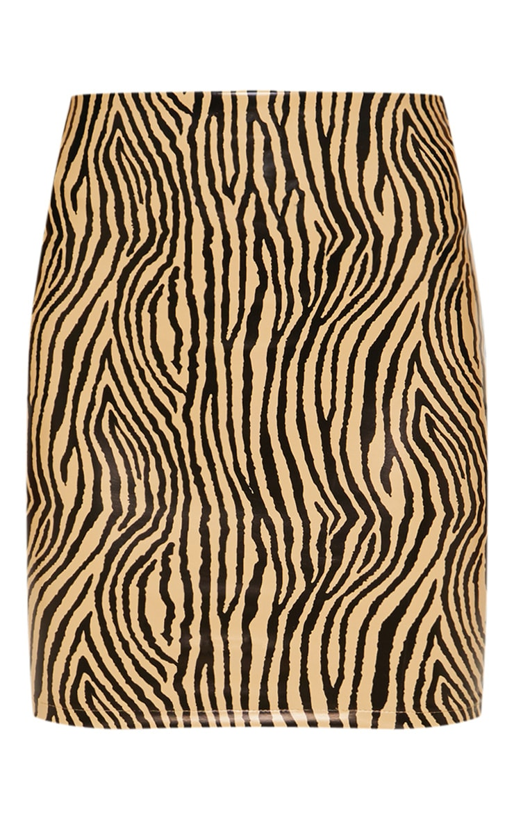 Sand Faux Leather Zebra Print Mini Skirt 3