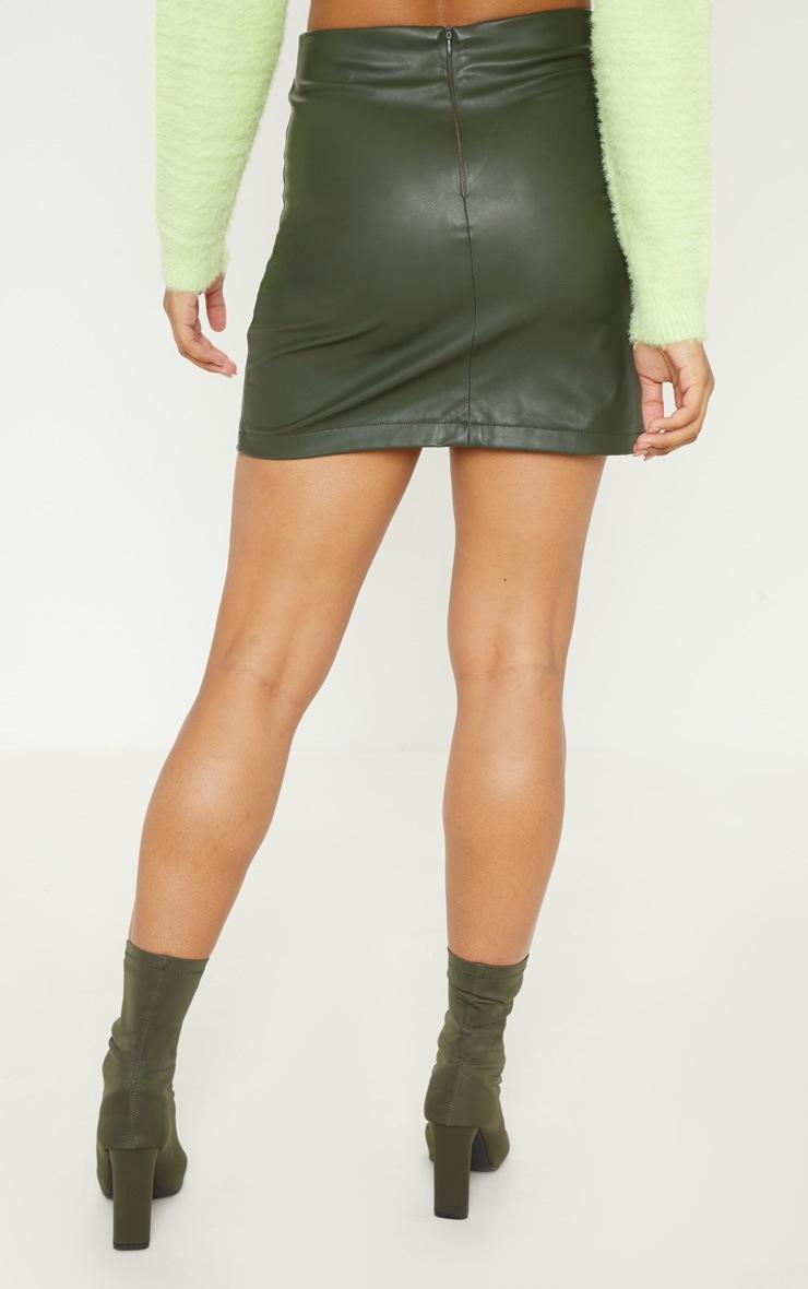 Tall Khaki  Faux Leather Button Detail Bodycon Skirt 4