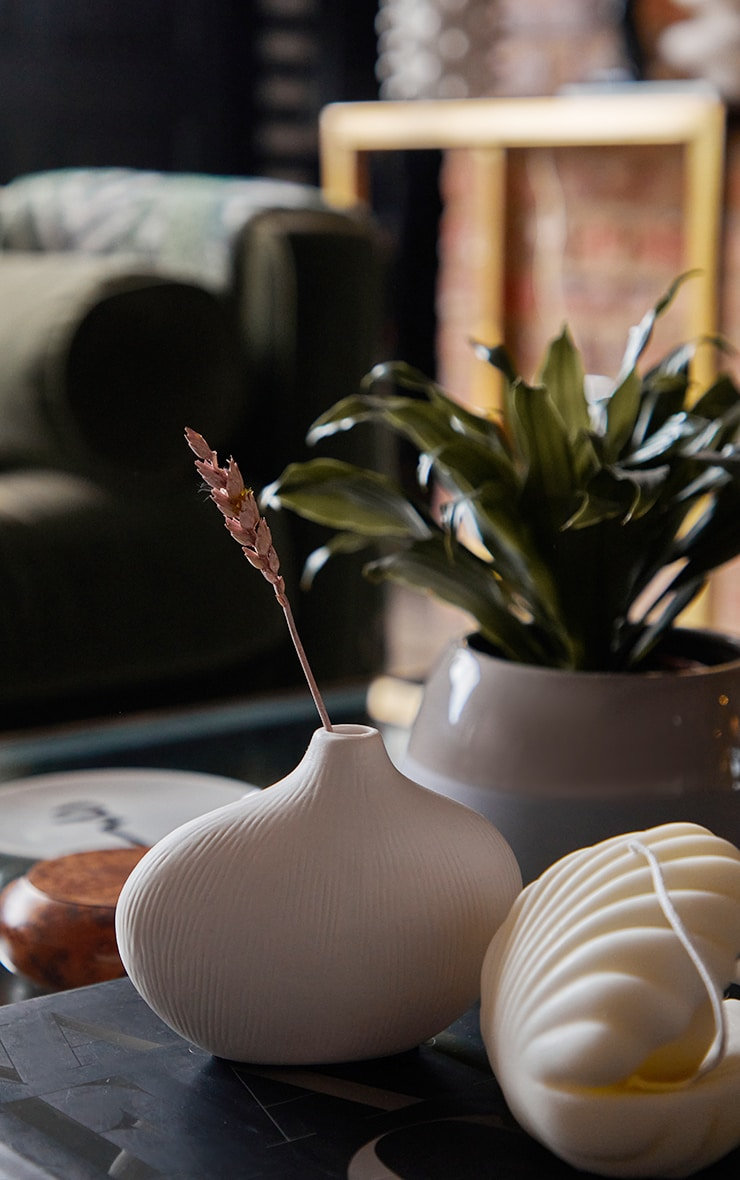 White Asymmetric Rounded Small Vase 1