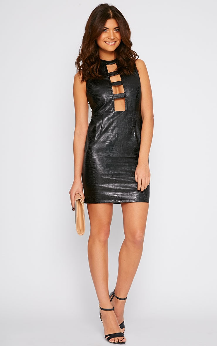 Braylee Black Cut Out Crocodile Leather Dress 3