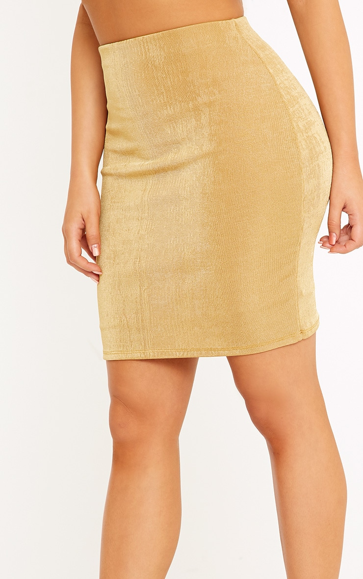 Shape Lyndsey Gold Slinky Mini Skirt Co-Ord 6