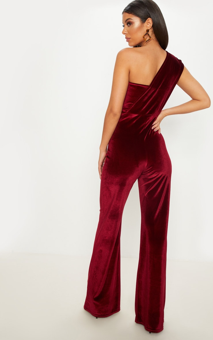 Burgundy Velvet Drape One Shoulder Jumpsuit 2