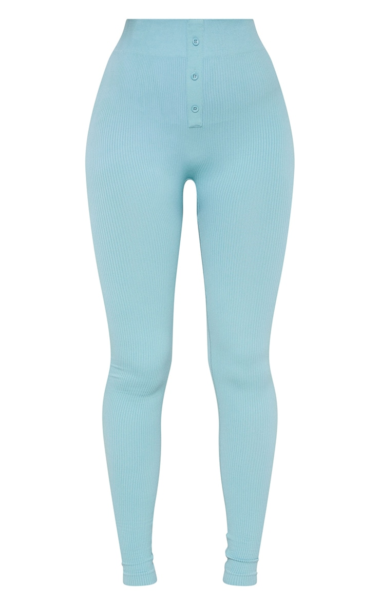 Washed Green Structured Contour Rib Button Front Leggings 5