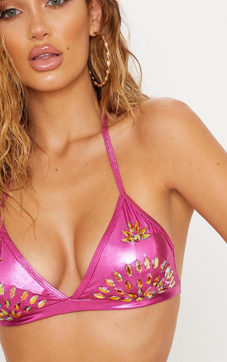 Premium Pink Metallic Beaded Triangle Bikini Top 6