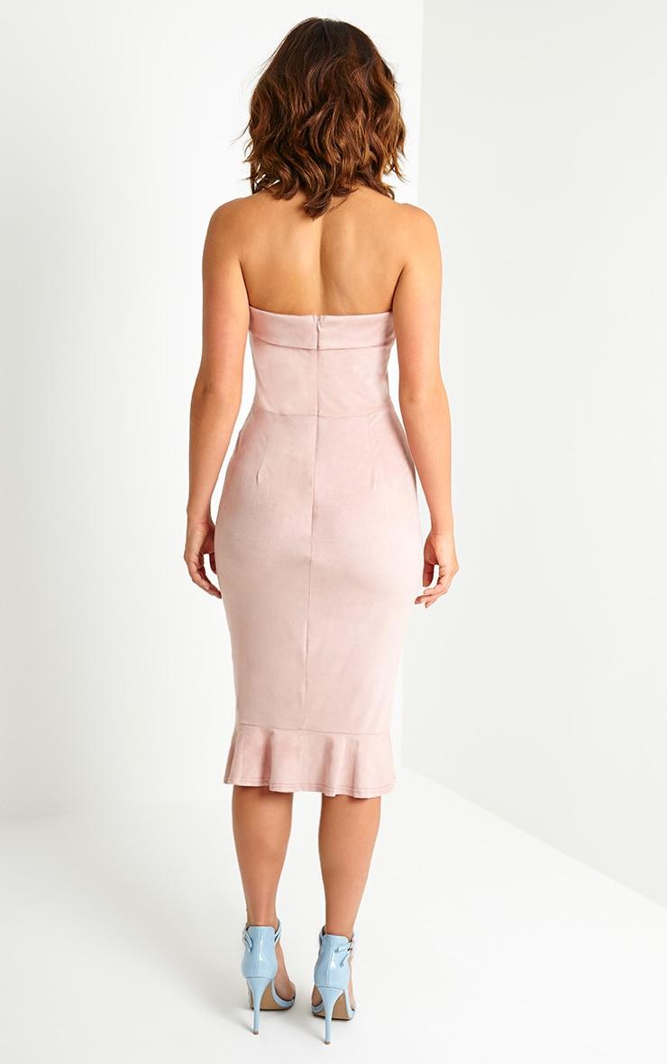 Lorena Dusty Pink Suede Bandeau Midi Dress 2