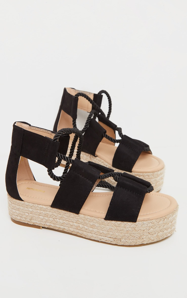 Black Lace Up Ghillie Espadrille Flatform 3