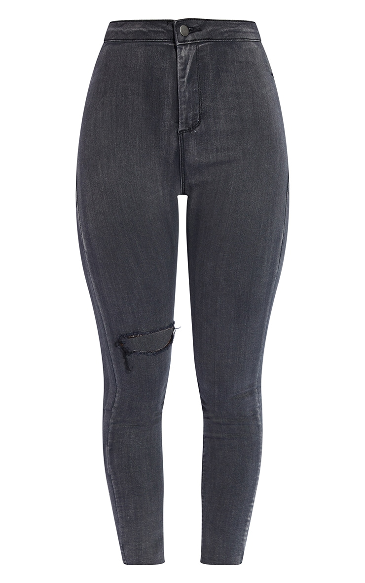 PRETTYLITTLETHING Washed Black Raw Hem Knee Rip Disco Skinny Jeans 5