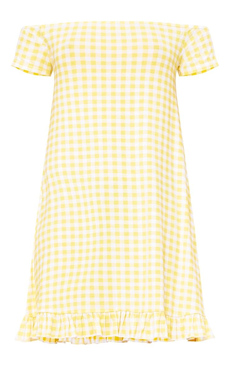 Lemon Gingham Bardot Frill Hem Swing Dress  3